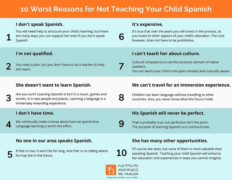 10 worst reasons for not teaching your child Spanish